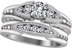 Diamond engagement ring with matching band.