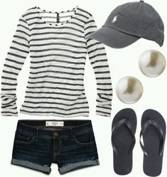 Simple striped shirt with denim shorts, pearls, and a hat. Perfect for baseball games!