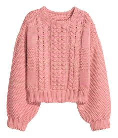 Short, pattern-knit sweater in a melange cotton blend with wide sleeves. | Warm in H&M