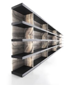 Designed exclusively for Kreoo by Enzo Berti, Shiro is a versatile, modular shelving system in wood and marble. Simple to assemble, it needs only two plugs for sturdy installation. Wall Shelving Units, Cabinet Shelving, Modular Shelving, Bookcase Shelves, Storage Shelves, Bookcases, Shiro, Bookcase Styling, Marble Wood