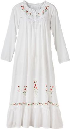 Embroidered white nightgown features embroidered red roses, neckline finished with ruffles, and adjustable tie. This womens woven-cotton nightdress is ideal for any season.