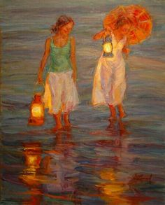 """""""The lanterns are great"""" by Diane Leonard # painting # impressionist # twitart Art And Illustration, Illustrations, Beautiful Paintings, Amazing Art, Awesome, Cool Art, Art Photography, Art Gallery, Drawings"""