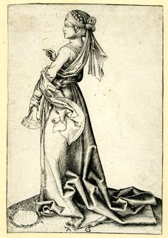 1450-1500The first foolish virgin; standing towards the left Engraving, Print made by: Monogrammist AG After: Martin Schongauer