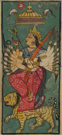 Durga riding on her tiger | Creation Date: ca. 1665 Display … | Flickr