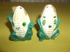 """AWESOME VINTAGE """"CORN ON THE COB"""" SALT & PEPPER SHAKERS ART DECO SHAKERS JAPAN"""