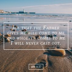 All that the Father gives me will come to me, and whoever comes to me I will never cast out.