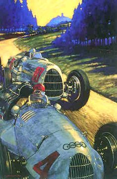 """Titan Legends Barry rowe Barry Rowe Overall size 30"""" x 20"""" Tazio Nuvolari and Hans Stuck Sr. aboard the Auto Union V12 supercharged D type and the V16 C-type at the Nurburgring. Limited edition of 150 prints"""