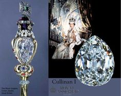 The Royal Sceptre includes the 530.4 carat Cullinan I diamond, also known as 'Great Star of Africa', was cut by the Asscher Diamond Company. Scepter dates back to 1661. The Sceptre was especially redesigned after the discovery of the Cullinan diamond. The Great Star of Africa can be removed from the Sceptre to be worn as a brooch. Great Britain's Crown Jewels.
