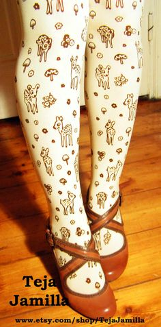 Deer Tights Fawn & Mushroom Print Plus Size Extra Large Brown on Deep Cream Women Mori Girl Forest. $27.50, via Etsy.