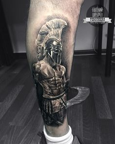A roman gladiator represents the integral role of the gladiatorial battles as a way for the people of Rome to purge their violence by watching others. It also relates to the role of violence in the foundation of Rome. Chest Piece Tattoos, Arm Sleeve Tattoos, Forearm Tattoo Men, Leg Tattoos, Tattos, Tattoo Manche, Ancient Greek Tattoo, Zues Tattoo, Spartan Helmet Tattoo