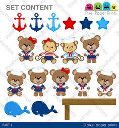 Baby Sailor Clip art and digital paper set by pixelpaperprints