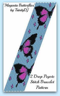 BPAN016 Magenta Butterflies 2 Drop Peyote Stitch by TrinityDJ, $7.50