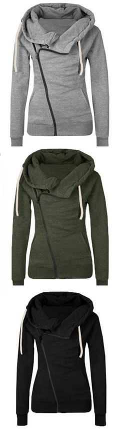 I love asymmetrical sweaters and hoodies! I steer clear of gray, but I like other colors for a casual look.