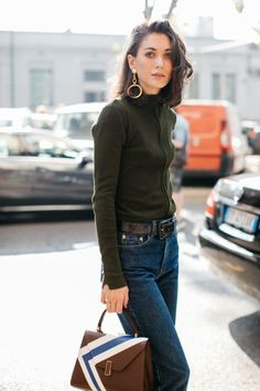 Dark Olive Sweater, Jeans & Gold Hoops.