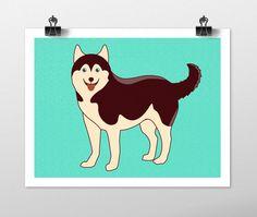 Husky Dog Art Print - Dog Prints Series. Husky drawing dog breeds vector artwork wall art blue drawing dog lover gift husky wall decor