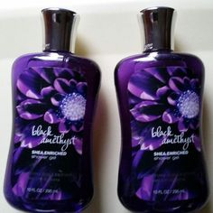 LOT OF 2 BATH & BODY WORK BLACK AMETHYST SHOWER GEL BODY WASH DISCONTINUED HTF #BathBodyWorks