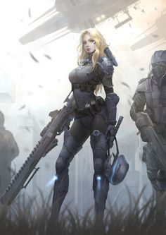 Sniper_Female, Yoon LEE on ArtStation at https://www.artstation.com/artwork/3Z2Do