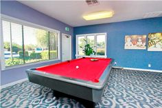Rivercrest Apartment Game Room with Billards Table | 7928 La Riviera Drive, Sacramento, CA  offers one, two and three bedroom apartments nestled near the American River yet clost to all that Sacramento has to offer.