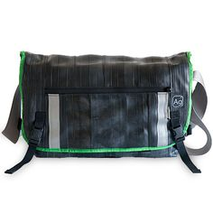 This messenger bag is part bicycle inner tube and part seat belt. Built from 67% upcycled products (reclaimed materials recycled into something better).