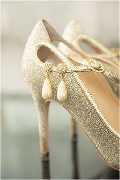 Glam shoes and pearl drop earrings by Jonathan Ivy Photography