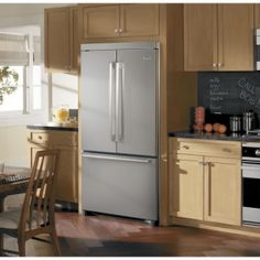 Viking 36 Inch Quiet Cool Counter-Depth French Door Refrigerator with cu. Capacity, Slide-Out Spillproof Glass Shelves, Meat Savor/Produce Drawers, Internal Water Dispenser and Ice Maker Best Counter Depth Refrigerator, Refrigerator Makeover, Refrigerator Cabinet, Bottom Freezer Refrigerator, Kitchen Refrigerator, French Door Refrigerator, Kitchen Appliances, Kitchens, Kitchen Showroom