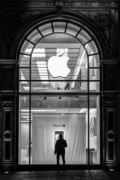 "♂ Apple retail store front London Black & white photo ""MacMan"" by Nicolas Zonvi"