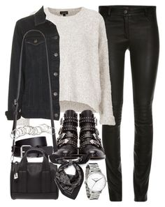 """Outfit with leather trousers"" by ferned on Polyvore featuring Topshop, H&M, Givenchy, Forever 21 and Alexander McQueen"