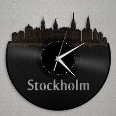 Stockholm Skyline Clock, Sweden Wall Decor, City Gift Idea, Unique Modern Clock, Bedroom, Kitchen, Living Room Decoration, Vinyl Record by VinylShopUS on Etsy