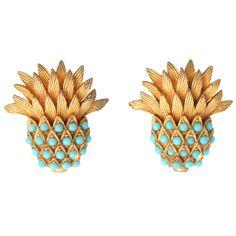 Carnegie Turquoise Pineapple Earrings
