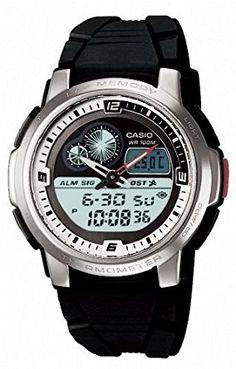 CASIO Collection AQF-102W-7BVEF - Reloj de caballero de cuarzo, correa de resina color negro (con alarma, luz, cronómetro)