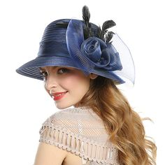 f2bffdd07b3 Find the best prices on WELROG Women s Church Derby Dress Hat - Feather  Flower Shade Summer Wedding Hats (Navy Blue) and save money.