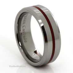 $30 Thin Red Line Tungsten Carbide Ring Red Epoxy 8MM Thin Red Blue Line 10% of every purchase is donated to police and firefighter charities