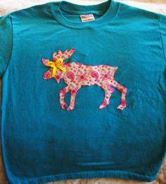 Girls Moose Shirt Size Youth Medium by HelgasHaberdashery on Etsy, $7.25