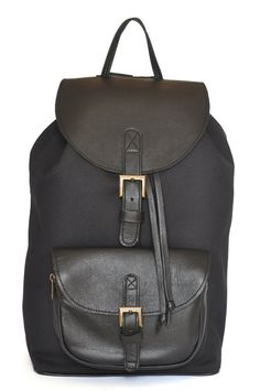 Genuine Leather and Black Canvas Backpack by DoubleEdge on Etsy