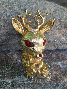 Reindeer Brooch, Rudolph the Red Nose Reindeer, Deer Head Pin, Reindeer Jewelry, Holiday Brooch Christmas Brooch by PassingTides on Etsy