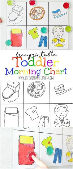 This free printable toddler morning chart is the perfect way to help your toddler get ready for the Toddler Chart, Toddler Fun, Toddler Activities, Learning Activities, Toddler Learning, Parenting Toddlers, Parenting Hacks, Toddler Behavior, Toddler Schedule