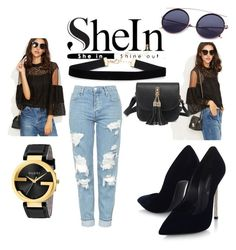 """""""#Sheln"""" by armina-244 ❤ liked on Polyvore featuring WithChic, Topshop, Casadei and Gucci"""