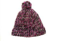 Beanie hat, with pom pom,  handknit, black, mulberry, silver item BGO1