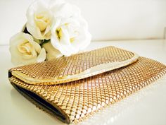 Vintage 80s mesh clutch/ gold tone metallic mesh by Vintagiality