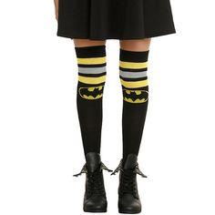 The DC Comics Batman Striped Over-The-Knee Socks let you put the Dark Knight over your knees without having to worry about getting punched in the face.  Leg fashion gets a little batty with these black, yellow, and gray over-the-knee socks that feature the iconic Batman logo on them, letting y