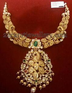 Jewellery Designs: Peacock Necklace with Leafy Model