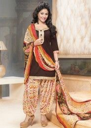 Casual Wear Brown Glace Cotton Lace Border Work Patiala Suit