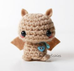 Bébé chauve-souris brune - peluche Amigurumi Kawaii Mini