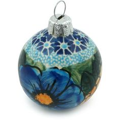 Polmedia Corn In The Blue Polish Pottery Ball Ornament