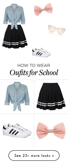 """School day"" by katycussins on Polyvore featuring River Island and adidas"