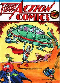 Action Comics Bender Parody by JakeMackessy on DeviantArt Pop Art Images, Book Images, Vintage Comic Books, Vintage Comics, Futurama, Cartoon Shows, Cartoon Characters, Valuable Comic Books, Action Comics 1