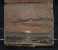 """Joseph Mallord William Turner, «Coucher de soleil sur une mer calme avec un bateau à voile, et la côte du Kent avec l'église de Reculver dans la distance"""" 1796-7"""