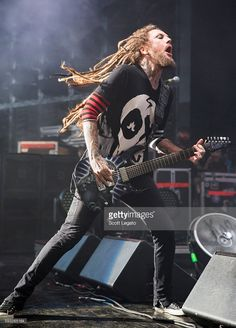 Brian 'Head' Welch of KORN performs at DTE Energy Music Theater on August 21…