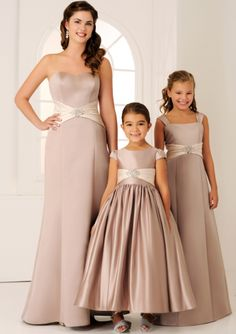 Adorable A-line Round Neckline Cap Sleeves Satin Tea Length Junior Bridesmaid Dresses Left