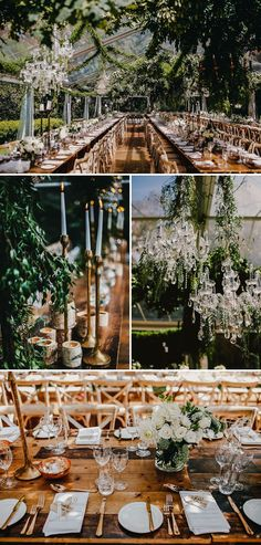Celebrity bride's enchanted garden-themed wedding in a clear-roof marquee at…